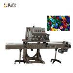 Máquina de llenado de botellas redondas de 500 ml con sellado de tapas y rueda de estrella en funcionamiento